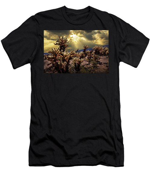 Men's T-Shirt (Slim Fit) featuring the photograph Cholla Cactus Garden Bathed In Sunlight In Joshua Tree National Park by Randall Nyhof