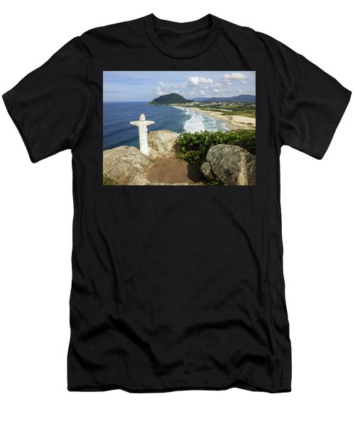 Christ Viewpoint At A Beach In Florianopolis, Brazil Men's T-Shirt (Athletic Fit)