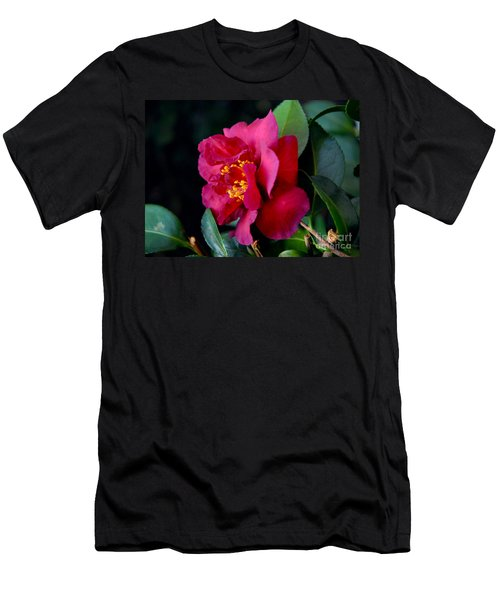 Christmas Camellia Men's T-Shirt (Slim Fit) by Marie Hicks