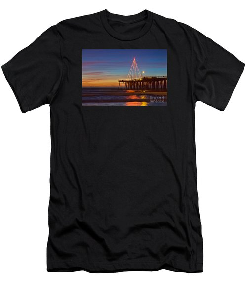 Christmas Lights On The Pismo Pier Men's T-Shirt (Athletic Fit)