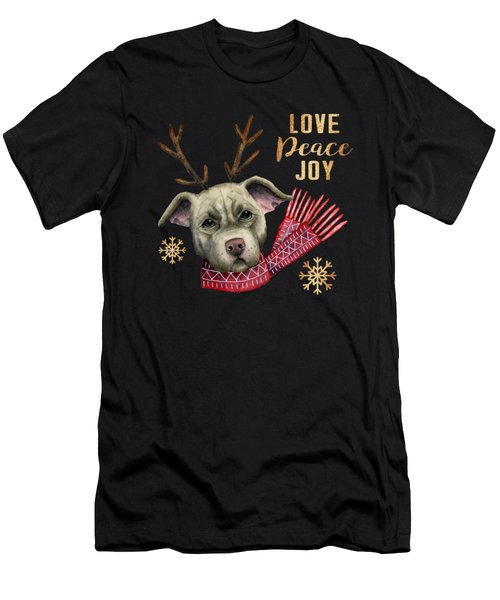 Christmas Reindeer Pit Bull With Faux Gold Snowflakes Men's T-Shirt (Athletic Fit)