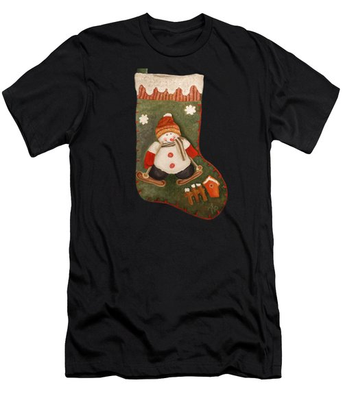 Men's T-Shirt (Athletic Fit) featuring the painting Christmas Stocking by Angeles M Pomata