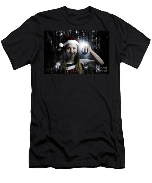 Christmas Technology Woman Shopping Online Men's T-Shirt (Athletic Fit)