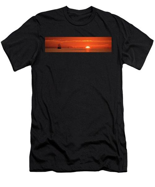Christopher Columbus Sailing Ship Nina Sails Off Into The Sunset Panoramic Men's T-Shirt (Athletic Fit)