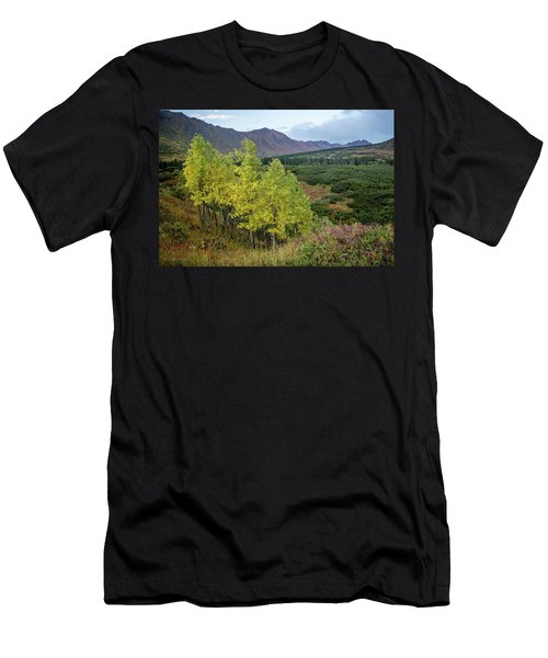 Men's T-Shirt (Athletic Fit) featuring the photograph Chugach Aspens In Autumn by Tim Newton