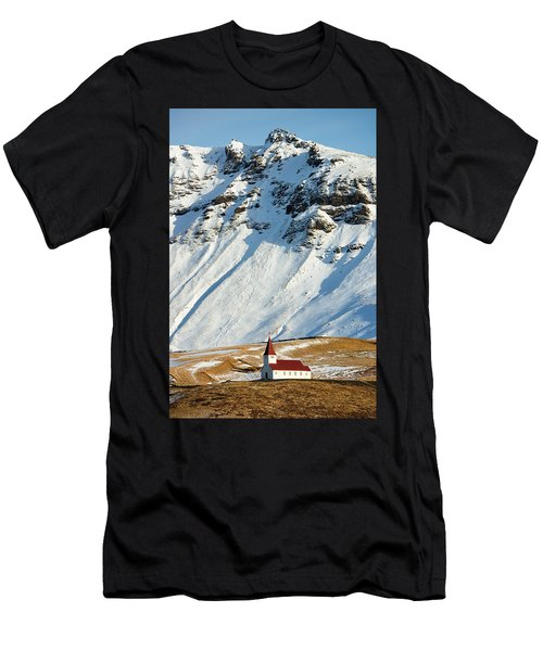 Men's T-Shirt (Athletic Fit) featuring the photograph Church And Mountains In Winter Vik Iceland by Matthias Hauser