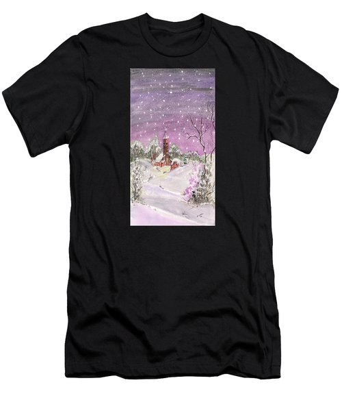 Men's T-Shirt (Athletic Fit) featuring the digital art Church In The Snow by Darren Cannell