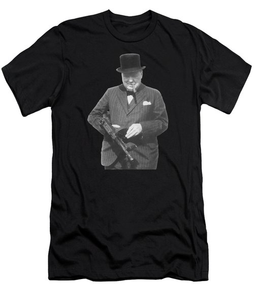 Churchill Posing With A Tommy Gun Men's T-Shirt (Athletic Fit)