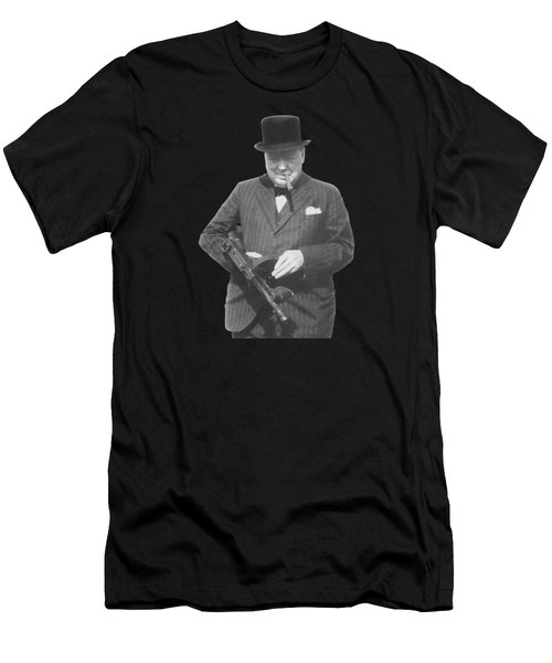 Churchill Posing With A Tommy Gun Men's T-Shirt (Slim Fit)
