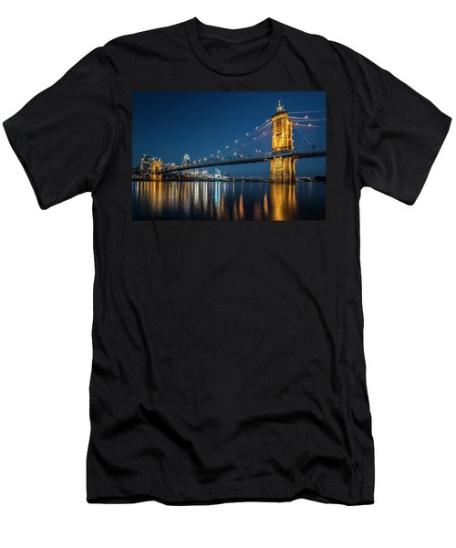 Cincinnati's Roebling Suspension Bridge At Dusk Men's T-Shirt (Athletic Fit)