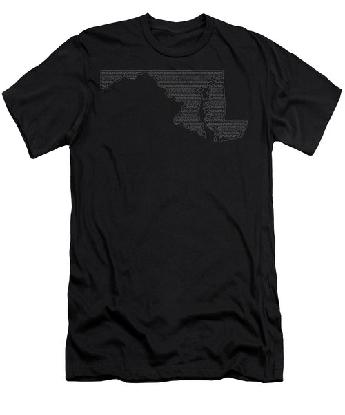 Cities And Towns In Maryland White Men's T-Shirt (Slim Fit) by Custom Home Fashions