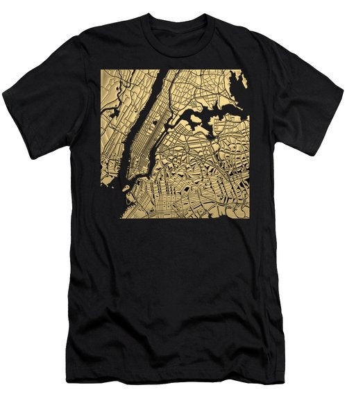 Cities Of Gold - Golden City Map New York On Black Men's T-Shirt (Athletic Fit)