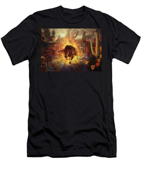 Men's T-Shirt (Athletic Fit) featuring the digital art City Bull City by Uwe Jarling