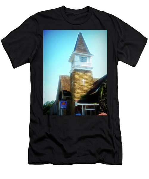 Men's T-Shirt (Athletic Fit) featuring the photograph City Flare Cathedral Cafe by Aimee L Maher Photography and Art Visit ALMGallerydotcom