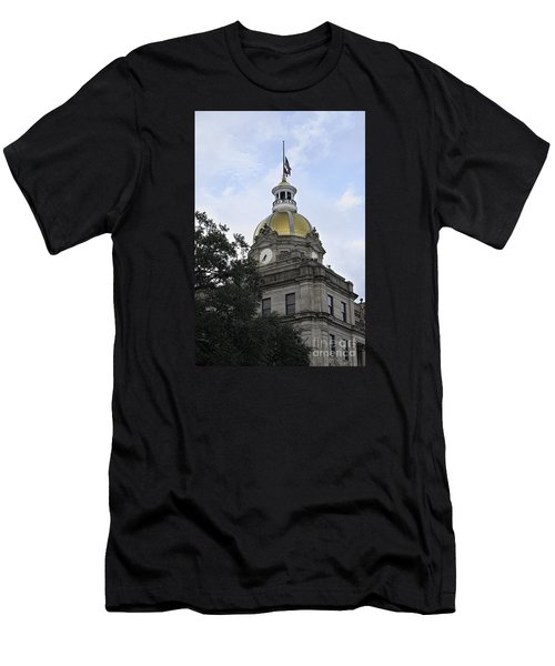 Men's T-Shirt (Slim Fit) featuring the photograph City Hall Savannah by Judy Wolinsky