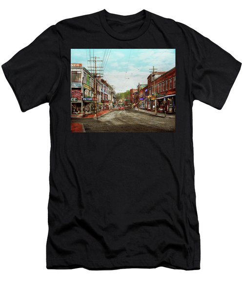 Men's T-Shirt (Athletic Fit) featuring the photograph City - Ma Glouster - A Little Bit Of Everything 1910 by Mike Savad