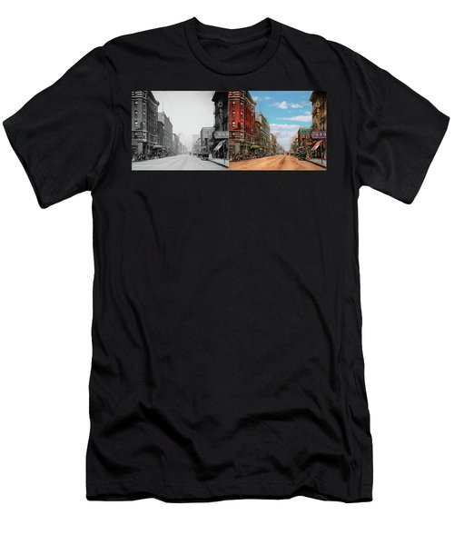 Men's T-Shirt (Slim Fit) featuring the photograph City - Memphis Tn - Main Street Mall 1909 - Side By Side by Mike Savad
