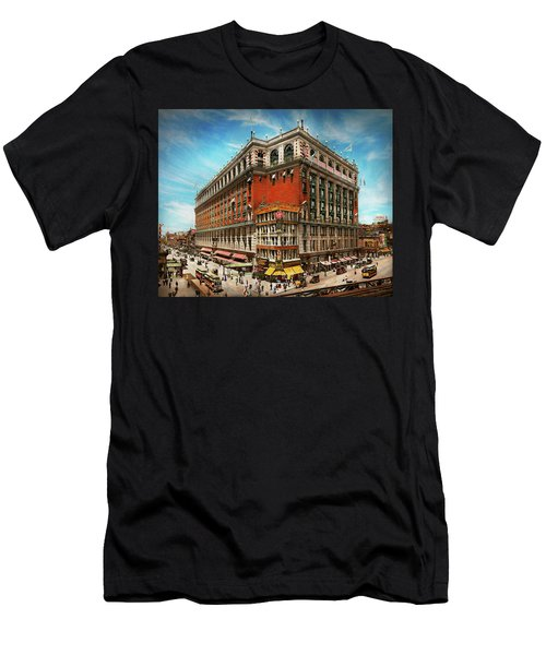 Men's T-Shirt (Athletic Fit) featuring the photograph City - Ny New York - The Nation's Largest Dept Store 1908 by Mike Savad