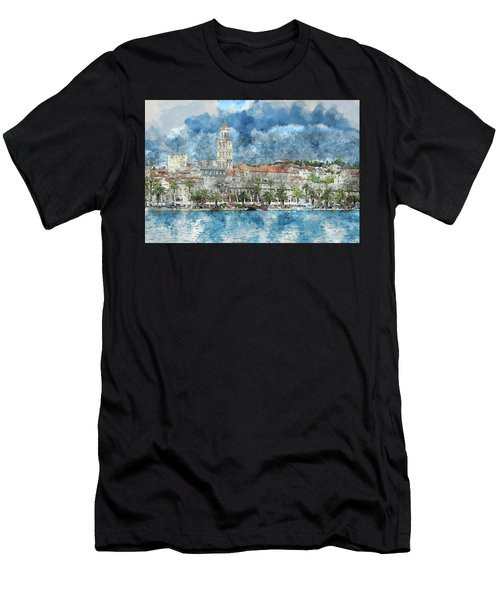 City Of Split In Croatia With Birds Flying In The Sky Men's T-Shirt (Athletic Fit)