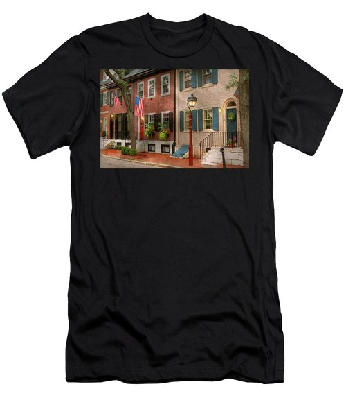 Men's T-Shirt (Athletic Fit) featuring the photograph City - Pa Philadelphia - American Townhouse by Mike Savad
