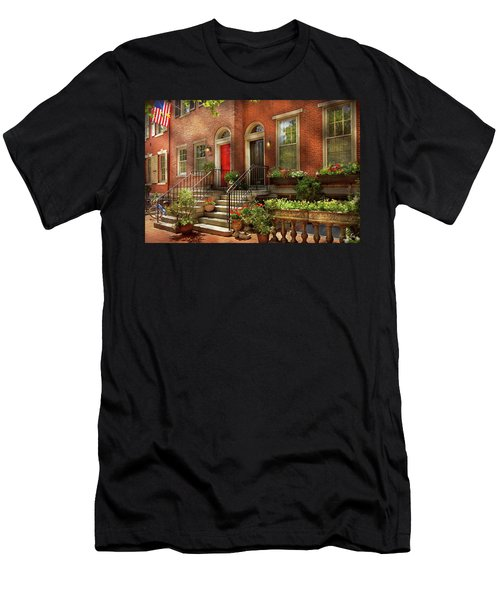 Men's T-Shirt (Athletic Fit) featuring the photograph City - Pa Philadelphia - Pretty Philadelphia by Mike Savad