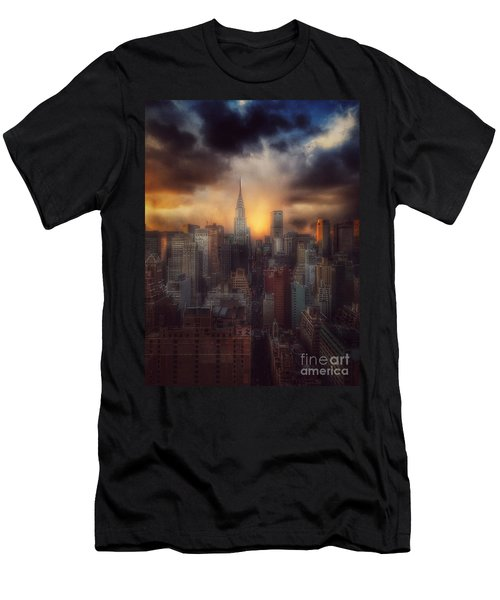 City Splendor - Sunset In New York Men's T-Shirt (Slim Fit) by Miriam Danar