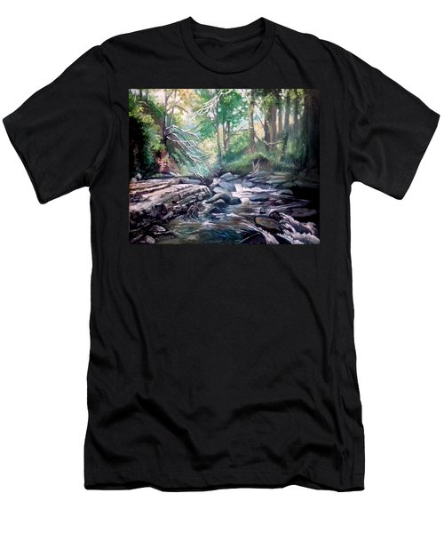 Men's T-Shirt (Slim Fit) featuring the painting Clare Glens ,co Tipparay Ireland by Paul Weerasekera