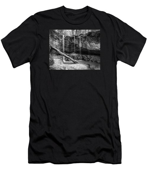 Clark Creek Nature Area Waterfall No. 2 In Black And White Men's T-Shirt (Athletic Fit)