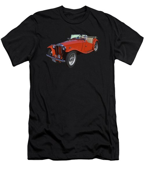 Classic Red Mg Tc Convertible British Sports Car Men's T-Shirt (Athletic Fit)