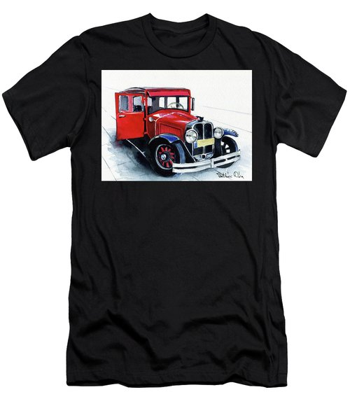 Men's T-Shirt (Athletic Fit) featuring the painting Classic Red Pontiac Car 1930 by Dora Hathazi Mendes