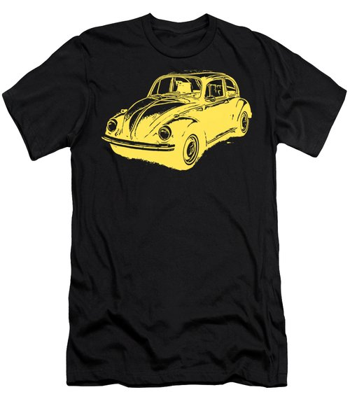 Classic Vw Beetle Tee Yellow Ink Men's T-Shirt (Slim Fit) by Edward Fielding