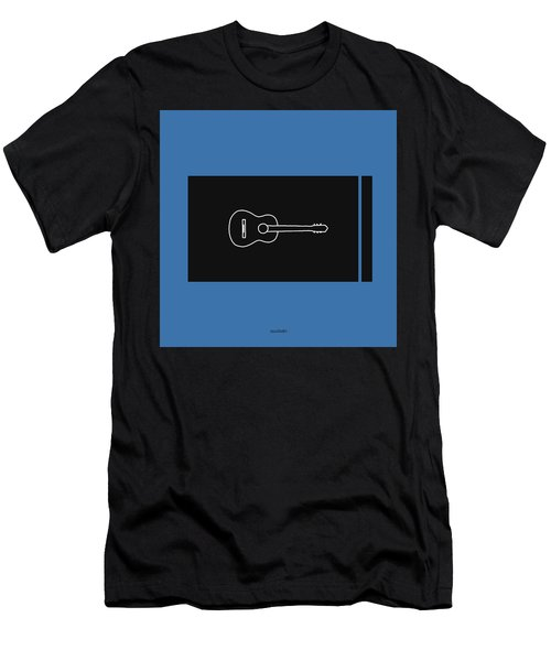 Classical Guitar In Blue Men's T-Shirt (Slim Fit) by David Bridburg
