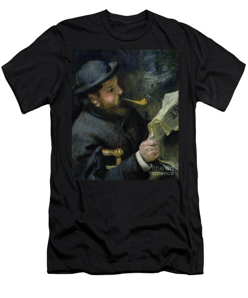 Claude Monet Reading A Newspaper Men's T-Shirt (Athletic Fit)