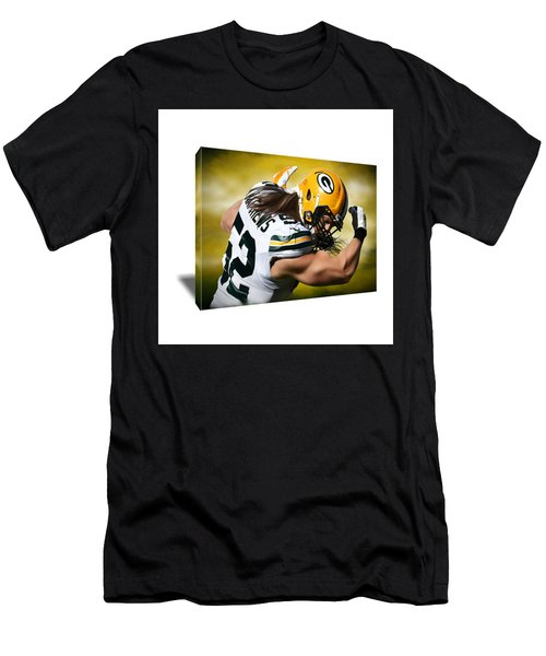 Clay Matthews Flexing Guns Canvas Art Men's T-Shirt (Athletic Fit)