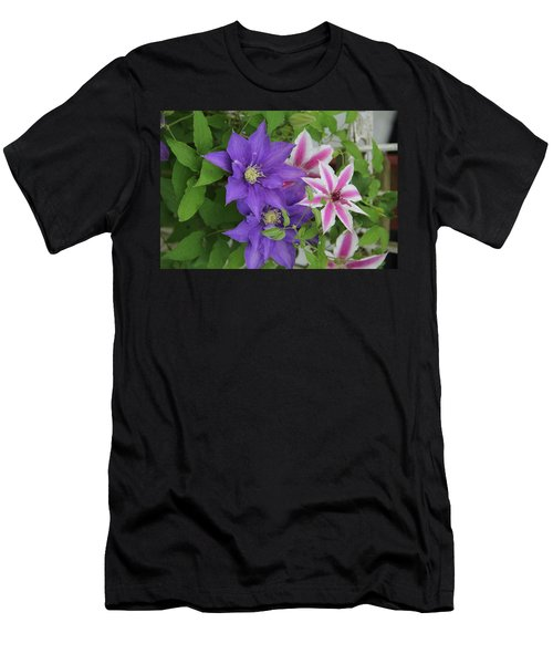 Clematis Purple And Pink White Men's T-Shirt (Athletic Fit)