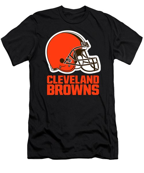 Cleveland Browns On An Abraded Steel Texture Men's T-Shirt (Athletic Fit)