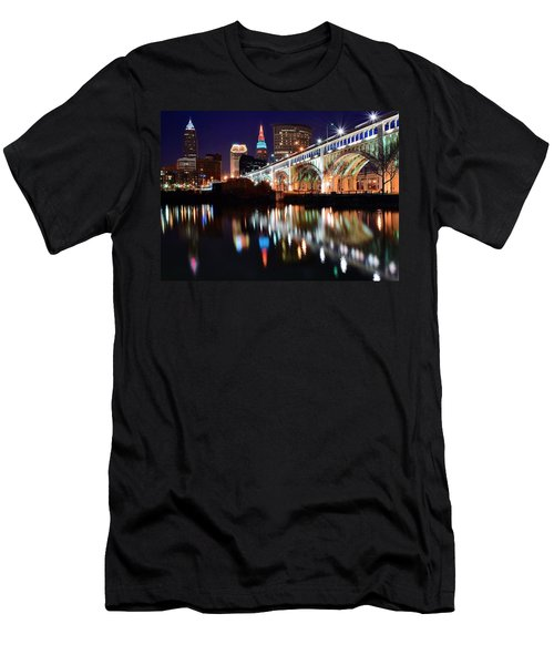Cleveland Ohio Skyline Men's T-Shirt (Slim Fit) by Frozen in Time Fine Art Photography