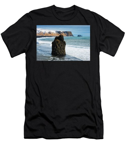 Men's T-Shirt (Athletic Fit) featuring the photograph Cliffs And Ocean In Iceland Reynisfjara by Matthias Hauser