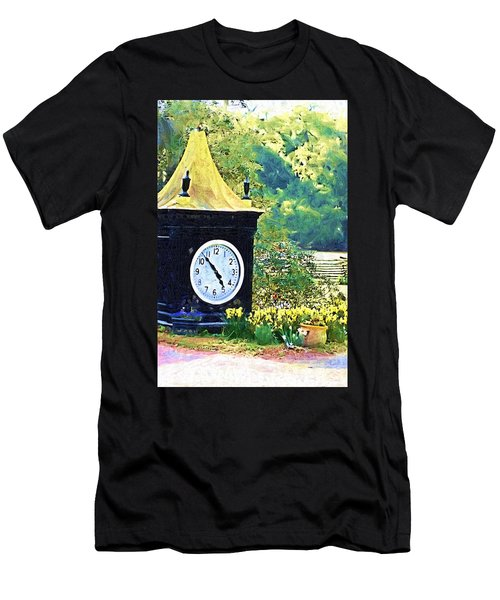 Men's T-Shirt (Slim Fit) featuring the photograph Clock Tower In The Garden by Donna Bentley