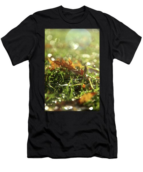 Close-up Of Dry Leaves On Grass, In A Sunny, Humid Autumn Morning Men's T-Shirt (Athletic Fit)