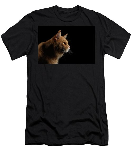 Close-up Portrait Ginger Maine Coon Cat Isolated On Black Background Men's T-Shirt (Athletic Fit)