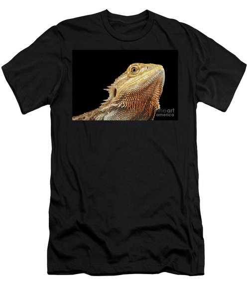 Men's T-Shirt (Athletic Fit) featuring the photograph Closeup Head Of Bearded Dragon Llizard, Agama, Isolated Black Background by Sergey Taran