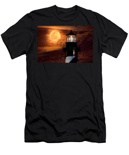 Closeup Of Full Moon Rising Over St Augustine Lighthouse Men's T-Shirt (Athletic Fit)