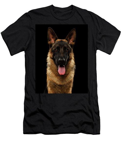 Closeup Portrait Of German Shepherd On Black  Men's T-Shirt (Athletic Fit)