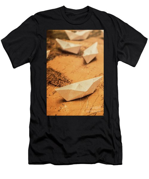 Closeup Toned Image Of Paper Boats On World Map Men's T-Shirt (Athletic Fit)