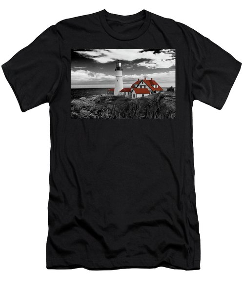 Clouds Over Portland Head Lighthouse 3 - Bw Men's T-Shirt (Slim Fit) by Lou Ford