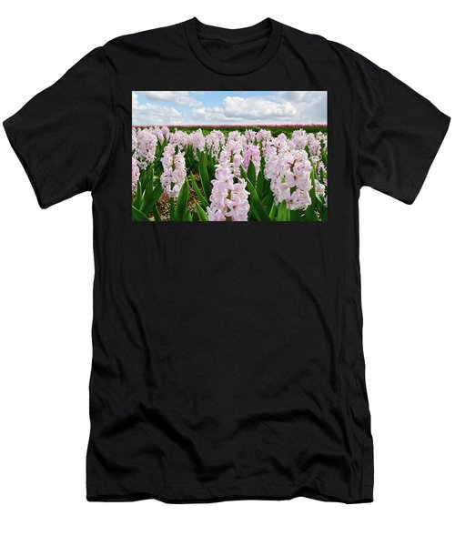 Clouds Over The Pink Hyacinth Field Men's T-Shirt (Slim Fit) by Mihaela Pater