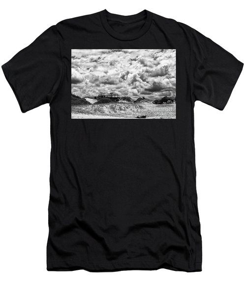 Men's T-Shirt (Slim Fit) featuring the photograph Cloudy Beach Black And White By Kaye Menner by Kaye Menner