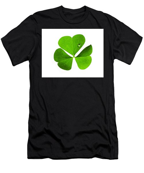 Men's T-Shirt (Athletic Fit) featuring the photograph Clover And Water Droplet by Roger Bester