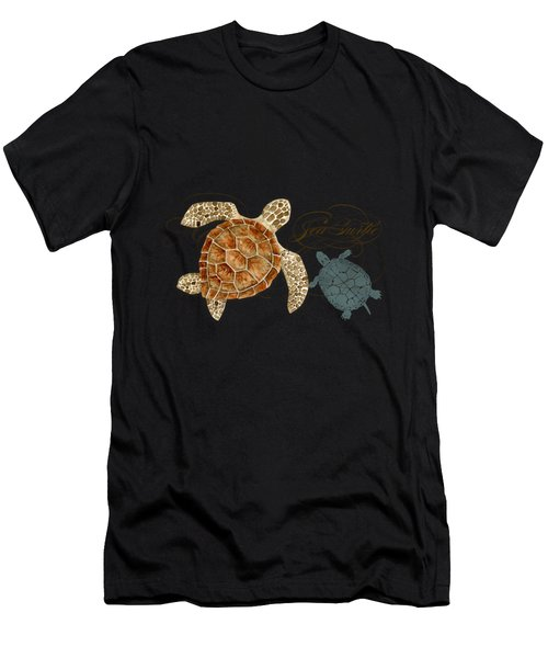 Coastal Waterways - Green Sea Turtle Rectangle 2 Men's T-Shirt (Athletic Fit)